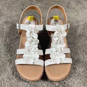 BOC Wedge White Buckle Ankle Strap Floral Sandal
